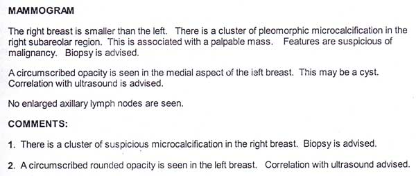 biopsy report breast normal not